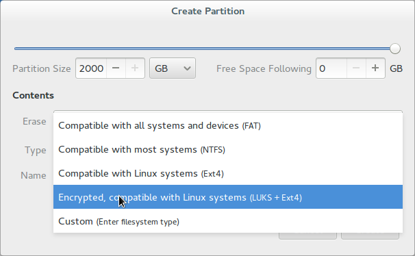 Create an encrypted partition
